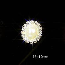 10 Mini Rhinestone Oval Diamante & Perla Adorno Ideal Para Boda invita a