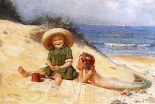 LITTLE MERMAID PRINT GIRLS  BEACH SHELLS OCEAN SAND PLAY FANTASY CANVAS ART