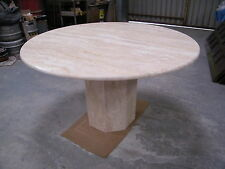 Genuine solid TRAVERTINE / CARRARA MARBLE dining or office table 130cm dia