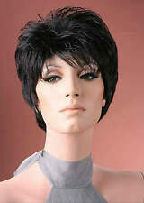 Ladies Boycut Tapered Style Short Off Black Straight Fashion Style Full Wig