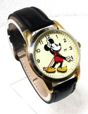 DISNEY MICKEY MOUSE CHAMPAGNE DIAL GOLD-TONE SS LEATHER STRAP WATCH MCK647