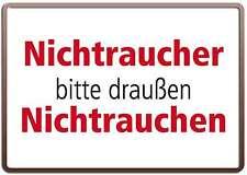 NICHTRAUCHER BITTE DRAUßEN NICHTRAUCHEN 10x15 cm Blechkarte Blechschild 15001