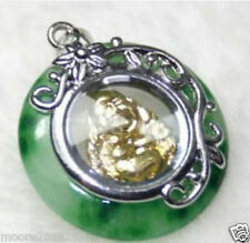 New lovely green jade Yellow gold plated buddha rotatable charm pendant