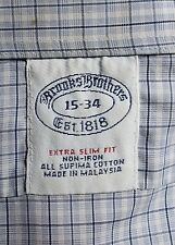 Brooks Brothers 15/34 Extra Slim Fit Grey Check Non-Iron Supima Cotton Shirt