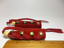 North Star Red Suede Leather Long Hair Ties Pony Tail Braid Made In USA-#112