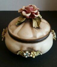 Vintage Capodimonte Dusty Pink Rose Floral Porcelain Trinket Box w/ Lid