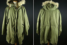 Vintage U.S Army M-1951 w/Liner Coyote Fur Fishtail Parka Conmar Zip Fits as XL