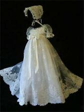 Custom Infant Baby Girl Toddler Christening Baptism Lace Long Dress Gown Bonnet