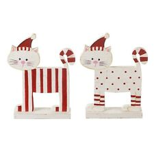 Shabby Chic Wooden Red & White Standing cat  Christmas Decoration Gift set of 2