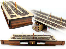 Continuous Cribbage Board / Box inlaid Rosewood 3 Tracks on Maple Board 12""