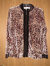 WOMEN'S JACLYN SMITH ANIMAL PRINT VELOUR TYPE TOP SIZE LARGE BROWN