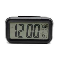 Digital Snooze LCD Alarm Clock LED Light Time Date Calendar Temperature Display