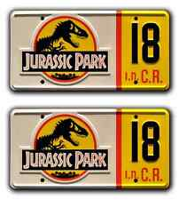 Jurassic Park / Jeep Wrangler / #18 *STAMPED* Replica Prop License Plate Combo