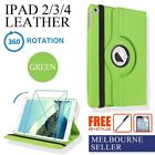 Green 360 Rotate Smart Cover Leather Case Stand for iPad 4, iPad 3, iPad 2