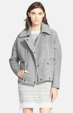 NWT! $695 VINCE Gray Sherpa Double-Breasted Boucle Wool Peacoat Jacket, S
