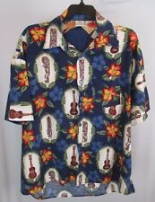 Sol Ivette Men's Hawaiian Shirt Ukulele Golfers Tiki Unique Blue Floral Vintage