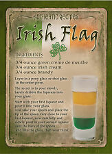 IRISH FLAG  COCKTAIL RECIPE,CAFE PUB, MAN SHED,HOME DECOR:METAL SIGN GIFT