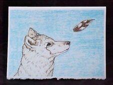 Wolf and Feather Art Print Card Frameable Blank Card 5x7