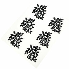 6 x Black Cluster Diamante Stick On Flower Rhinestones Gems Adhesive