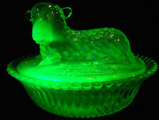 Green Vaseline glass Lamb Sheep on nest basket candy butter dish uranium animal