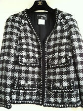 Chanel 11A NEW TAGS Lesage Black Silver Jacket Gripoix button Zipper FR42