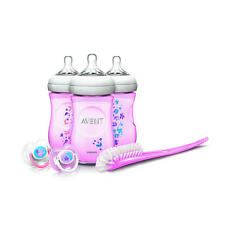 new Avent Natural 9oz Baby Bottle Feeding Gift Set pink flower paylessph