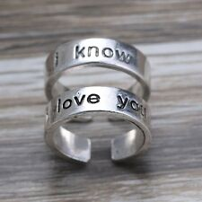 I Love You I Know A Pair of Han & Leia Rings Hand Stamped Adjustable His and Her