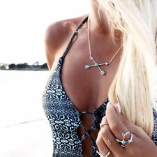 Silver Turquoise Arrow Cross Necklace Boho Body Jewellery Bohemian Gypsy A175