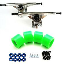 "7"" Longboard Trucks Silver 65mm Skateobard Wheels Neon Green Abec7 Bearing Screw"