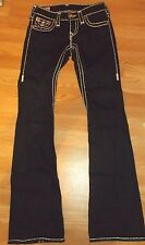 TRUE RELIGION 'JOEY SUPER T' TWISTED BIG STITCH DARK BLUE FLARE JEANS 24
