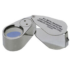 40X Metal 25mm Magnifying Loupe Jeweler LED UV Glass Lens Magnifier Natural