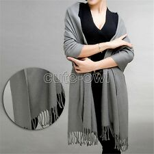 New Pure Color 100% Wool Cashmere Scarf Shawl Unisex Pashmina