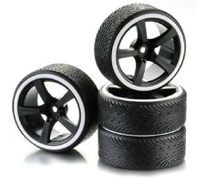 5 Spoke Drift Wheel & Tyre Set For RC Cars 1:10 Scale Black & White 2510047