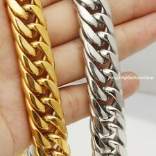 "16/20mm Huge Stainless Steel Silver/Gold Curb Cuban Chain Men's Necklace 7""-40"""