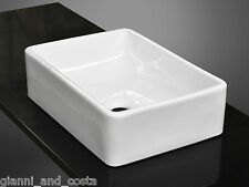 BATHROOM CERAMIC RECTANGULAR ABOVE COUNTER TOP BASIN FOR VANITY + POP UP WASTE