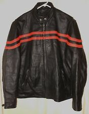 CAFE MOTORCYCLE LEATHER JACKET BLACK WITH ORANGE RACING STRIPES SZ 46