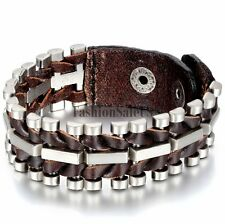 Men Unique Punk Rock Wide Brown Leather Alloy Bicycle Chain Bracelet Bangle Cuff