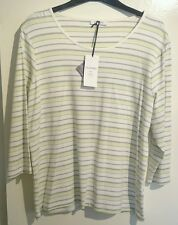 M & S ladies light green lime top long sleeve size 20 bnwt stay new tech striped