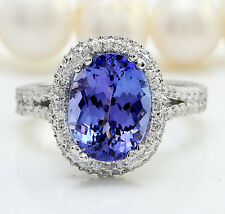 5.91CTW Natural Tanzanite and DIAMOND in 14K Solid White Gold Women Ring