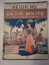 """1938 SNOW WHITE & THE SEVEN DWARFS """"HEIGH - HO"""" SONG SHEET - SEE PICS - TUB ABCD"""