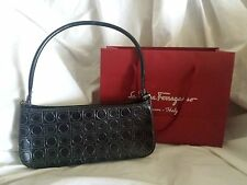 Salvatore Ferragamo Handbag Shoulder Bag Purse Black Logo with Shopping Bag
