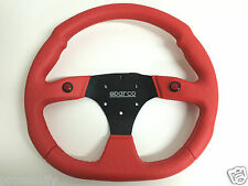 350mm Red Flat Bottom Button Steering Wheel OMP MOMO NARDI PVC Leather