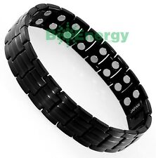 Magnet Magnetic TITANIUM Steel Energy Power Bracelet Health Bio Men's Black Matt