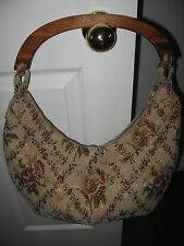 NEWPORT NEWS EASY STYLE hobo slouch tapestry carpet bag purse tote wood handle