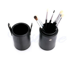 Faux Leather Storage Empty Holder Cosmetic Cup Case For Makeup Brush Pen Black