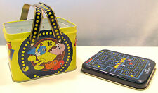 Vintage Pac-Man Lunchbox by Midway 1980 2 Handle Carry All Tin Metal Pacman