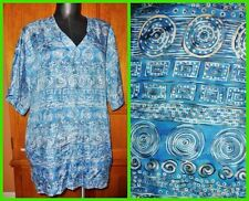 CAROLE LITTLE Teal Pure 100% SILK Ethnic Tribal Print dress TOP TUNIC BLOUSE 14