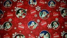 LINED VALANCE 42X15 COCA COLA BOTTLE CHRISTMAS HOLIDAY SNOWFLAKE SANTA
