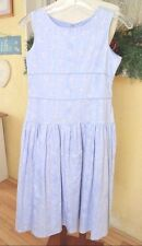 American Girl Party Dress 14 Girls Periwinkle Blue White Floral Full Skirt
