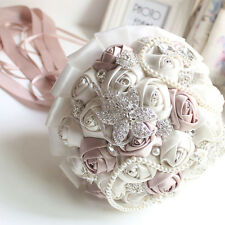 Handmade Crystal Wedding Bouquet Brooch Posy Bridesmaid Rose Flower Bridal Satin